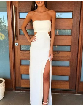 Strapless White Chiffon Cutout Prom Dress with High Slit PD1033