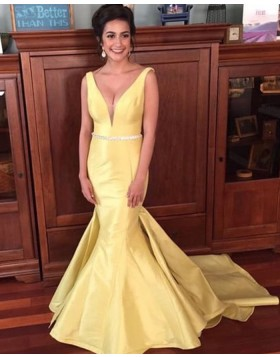 V-neck Yellow Satin Mermaid Prom Dress with Court Train PD1034