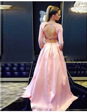 Two Piece Bateau Pink Beading Satin Long Sleeved Prom Dress with Pockets PD1035