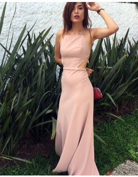 Spaghetti Straps Cutout Pink Chiffon Sheath Prom Dress PD1042