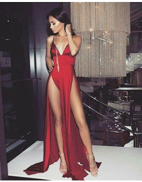 Spaghetti Straps Red Evening Dress with Double Slits PD1046
