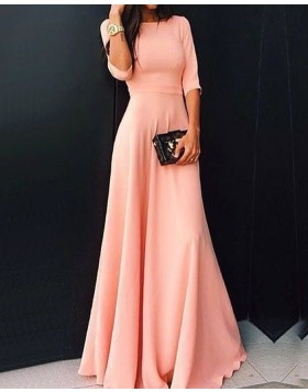 Jewel Pink Chiffon Prom Dress with Half Sleeves PD1047