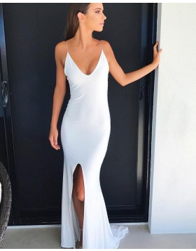 Long Spaghetti Straps White Mermaid Evening Dress with Front Slit PD1048