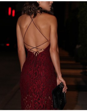 Spaghetti Straps Lace Burgundy Ankle Length Evening Dress with Slit PD1051