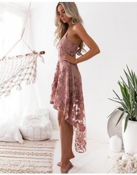 Spaghetti Straps Floral Tulle and Chiffon High Low Homecoming Dress HD3001