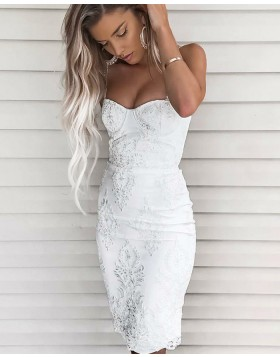 Sexy Square Lace White Knee Length Sheath Graduation Dress HD3003