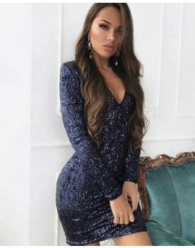 Black Sequined V-neck Bodycon Club Dress with Long Sleeves HD3006