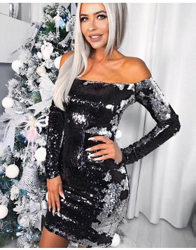 Off the Shoulder White and Black Two Tone Reversible Sequined Tight Club Dress HD3011