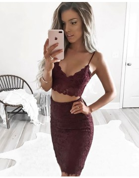 Two Piece Burgundy Spaghetti Straps Lace Tight Homecoming Dress HD3015