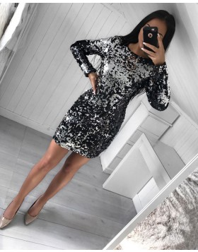 Silver and Black  Two Tone Reversible Sequin Tight Club Dress with Long Sleeves HD3017