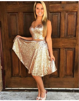 Knee Length Two Piece V-neck Gold Sequined Homecoming Dress HD3020