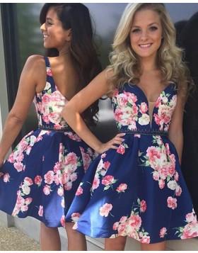 Floral Print Deep V-neck Satin Homecoming Dress with Beading Belt HD3021