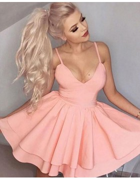 Simple Satin Spaghetti Straps Blush Pink Layered Homecoming Dress HD3023