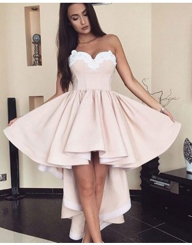 High Low Sweetheart Satin Pleated Homecoming Dress with Appliques HD3025