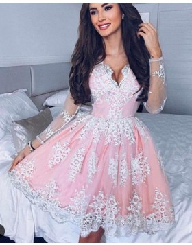 A-line Pink V-neck Lace Pleated Homecoming Dress with Long Sleeves HD3028