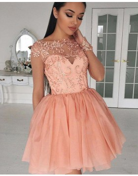 Bateau Sheer Lace Bodice Coral Pink Homecoming Dress with Long Sleeves HD3030