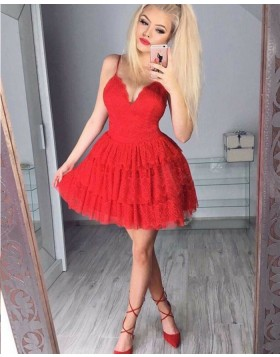 Fit and Flare Red Spaghetti Straps Layered Lace Homecoming Dress HD3032