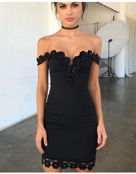 Off the Shoulder Tight Black Lace Appliqued Graduation Dress HD3034