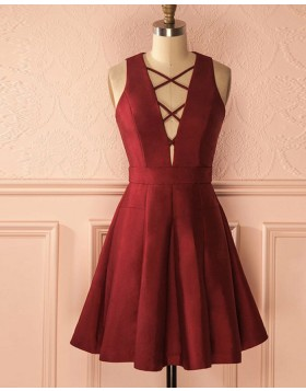 Simple Criss Cross Burgundy Satin Pleated Short Homecoming Dress HD3035