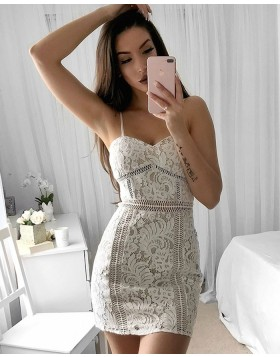 Amazing Ivory Spaghetti Straps Lace Tight Graduation Dress HD3038
