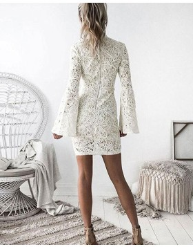 High Neck Ivory Lace Tight Graduation Dress with Bell Sleeves HD3040