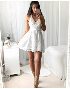 Elegant Spaghetti Straps White Lace Pleated Short Homecoming Dress HD3042
