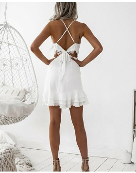 Spaghetti Straps Chiffon Tight Simple Homecoming Dress with Layered Hemline HD3043
