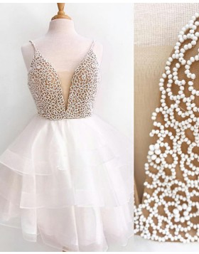 Spaghetti Straps Ivory Beading Bodice Homecoming Dress with Layered Tulle Skirt HD3044