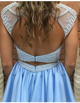 Jewel Light Blue Beading Bodice Satin Pleated Homecoming Dress with Pockets HD3047
