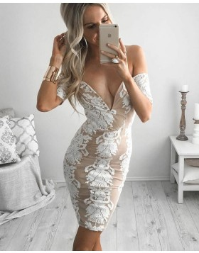 Off the Shoulder Sexy Tight Lace Short Graduation Dress with Short Sleeves HD3053