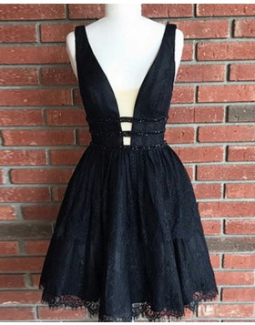 V-neck Black Lace Mesh Waist Pleated Homecoming Dress HD3054