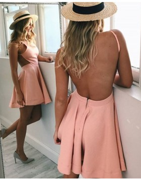 Simple Spaghetti Straps Coral Pink Satin Backless Homecoming Dress HD3055