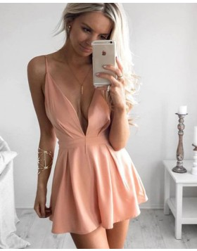 Simple Spaghetti Straps Deep V-neck Pink Satin Pleated Short Homecoming Dress HD3056