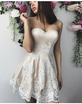Sweetheart Grey Lace Appliques Satin Short Homecoming Dress HD3057