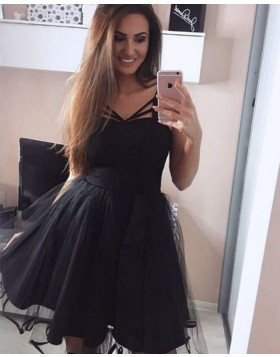 Simple Square Black Satin and Tulle Pleated Short Homecoming Dress HD3060