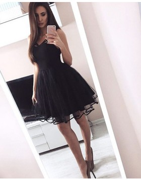 6e7eaaf0a82 -46% Simple Square Black Satin and Tulle Pleated Short Homecoming Dress  HD3060 ...