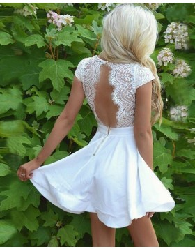 White V-neck Lace Bodice Satin Short Homecoming Dress with Keyhole Back HD3061