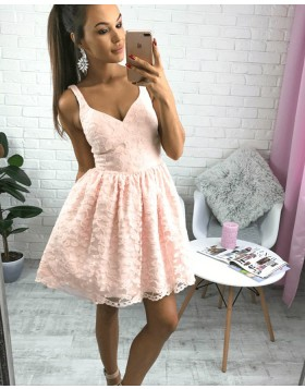 Amazing Sleeveless V-neck Lace Pink Pleated Party Dress HD3062