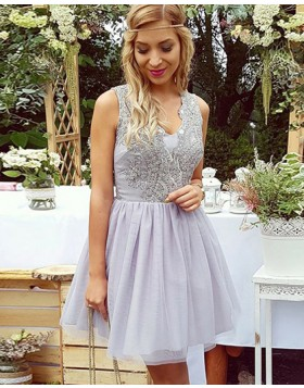 Lavender V-neck Beading Homecoming Dress with Pleated Tulle Skirt HD3063