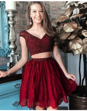 V-neck Beading Red Two Piece Homecoming Dress with Lace Skirt HD3066