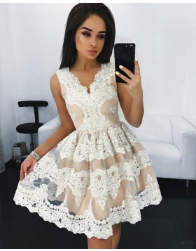 Sleeveless Nude Lace Pleated Short Homecoming Party Dress HD3072