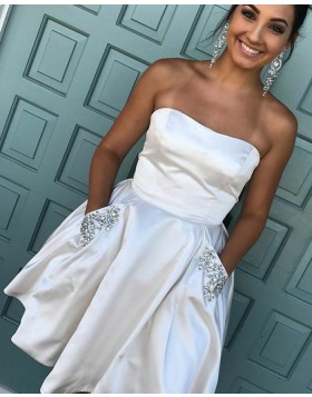 Strapless Ivory Satin Short Homecoming Dress with Beading Pockets HD3073