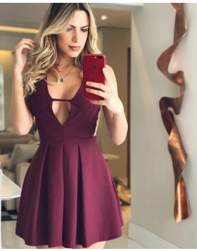 Simple Burgundy Pleated Satin V-neck Homecoming Dress HD3075