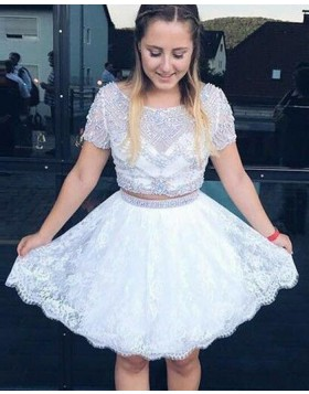 Bateau Beading Sheer Two Piece White Homecoming Dress with Lace Skirt HD3082
