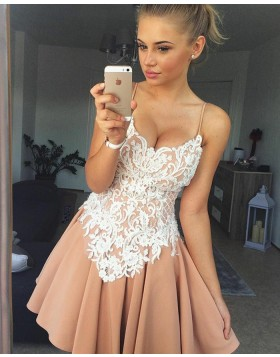 Spaghetti Straps Nude Lace Appliques Pleated Homecoming Dress HD3084