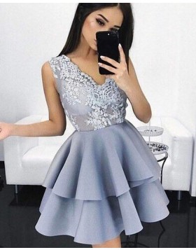 V-neck Appliqued Bodice Dusty Blue Satin Homecoming Dress with Layered Skirt HD3087