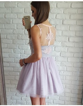 V-neck Lavender Lace Bodice Short Homecoming Dress with Tulle Skirt HD3089