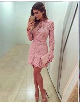 Jewel Lace Blush Pink Tight Graduation Dress with Long Sleeves HD3090