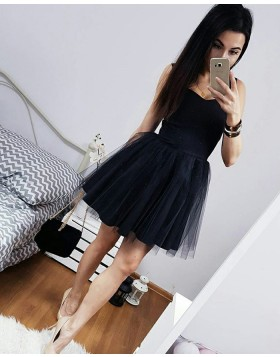 Simple Black Square Satin and Tulle Short Homecoming Dress HD3091