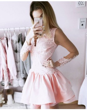 A-line V-neck Blush Pink Lace Bodice Satin Homecoming Dress with Long Sleeves HD3093